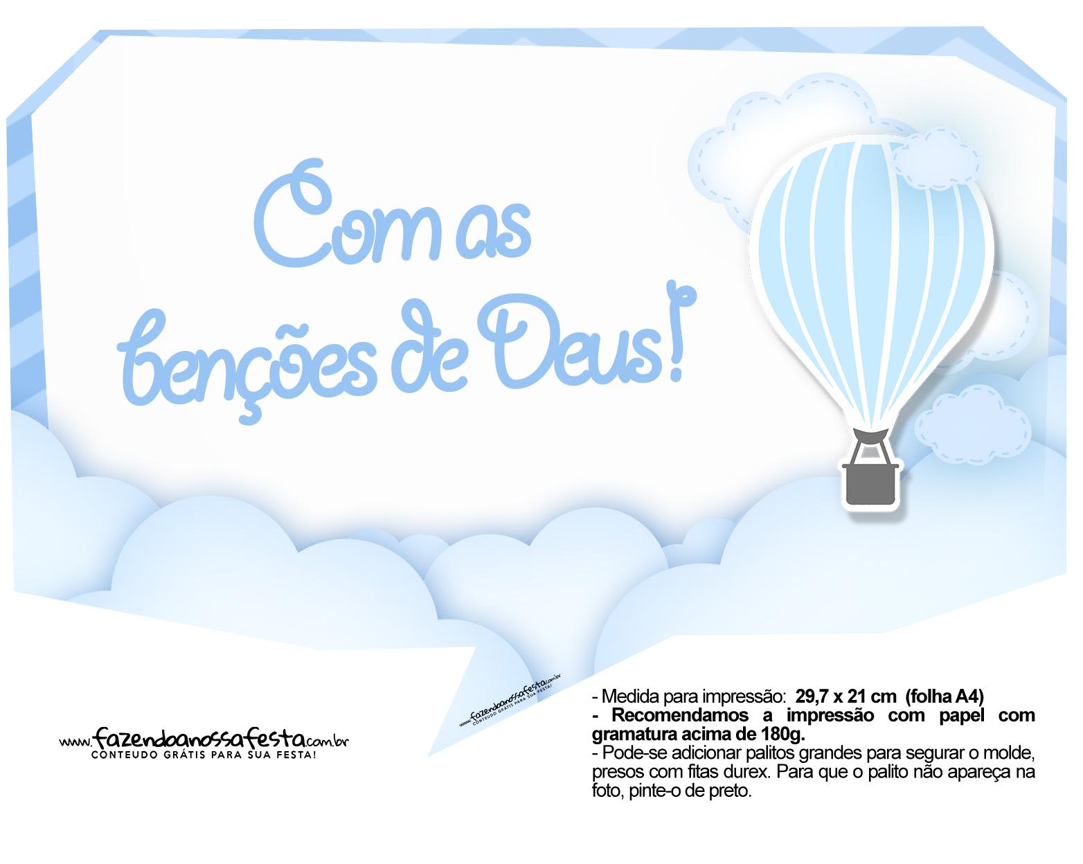 Plaquinha divertida Balão de Ar Quente Azul 12