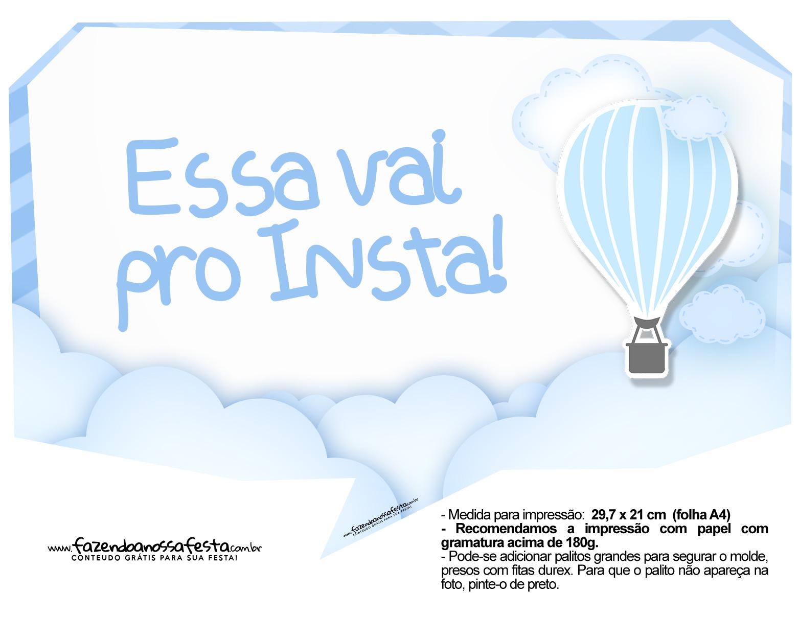 Plaquinha divertida Balão de Ar Quente Azul 13