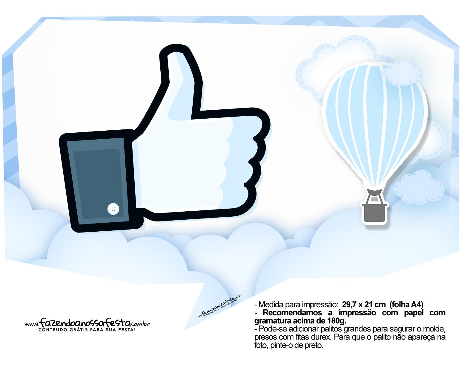 Plaquinha divertida Balão de Ar Quente Azul 14
