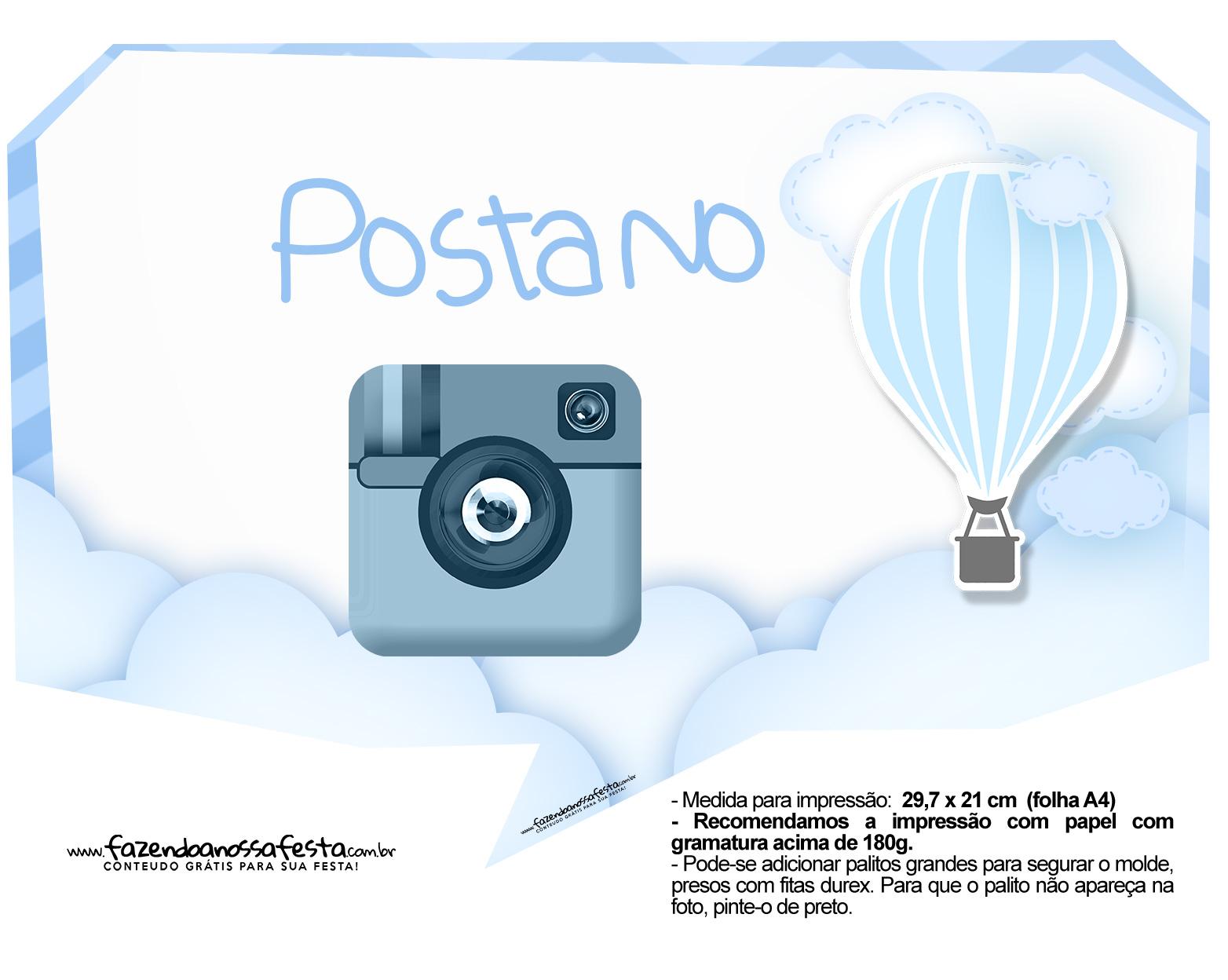 Plaquinha divertida Balão de Ar Quente Azul 15
