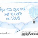Plaquinha divertida Balão de Ar Quente Azul