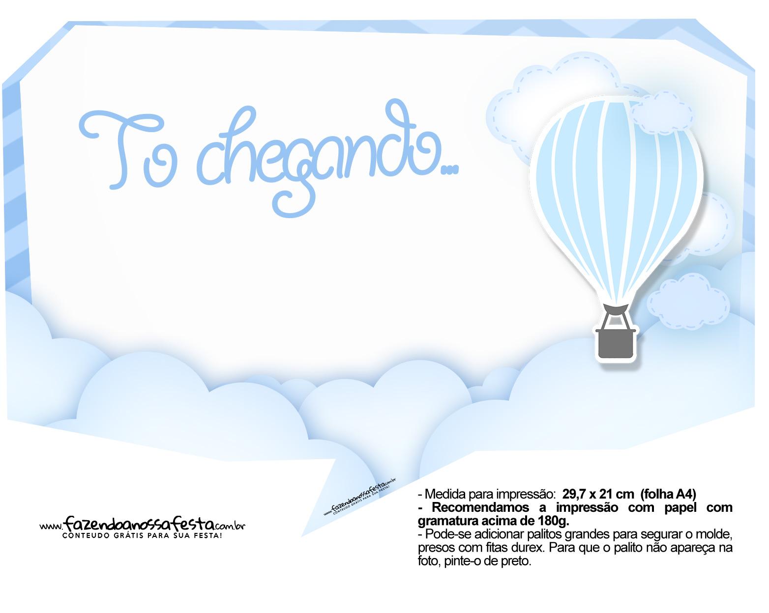 Plaquinha divertida Balão de Ar Quente Azul 18
