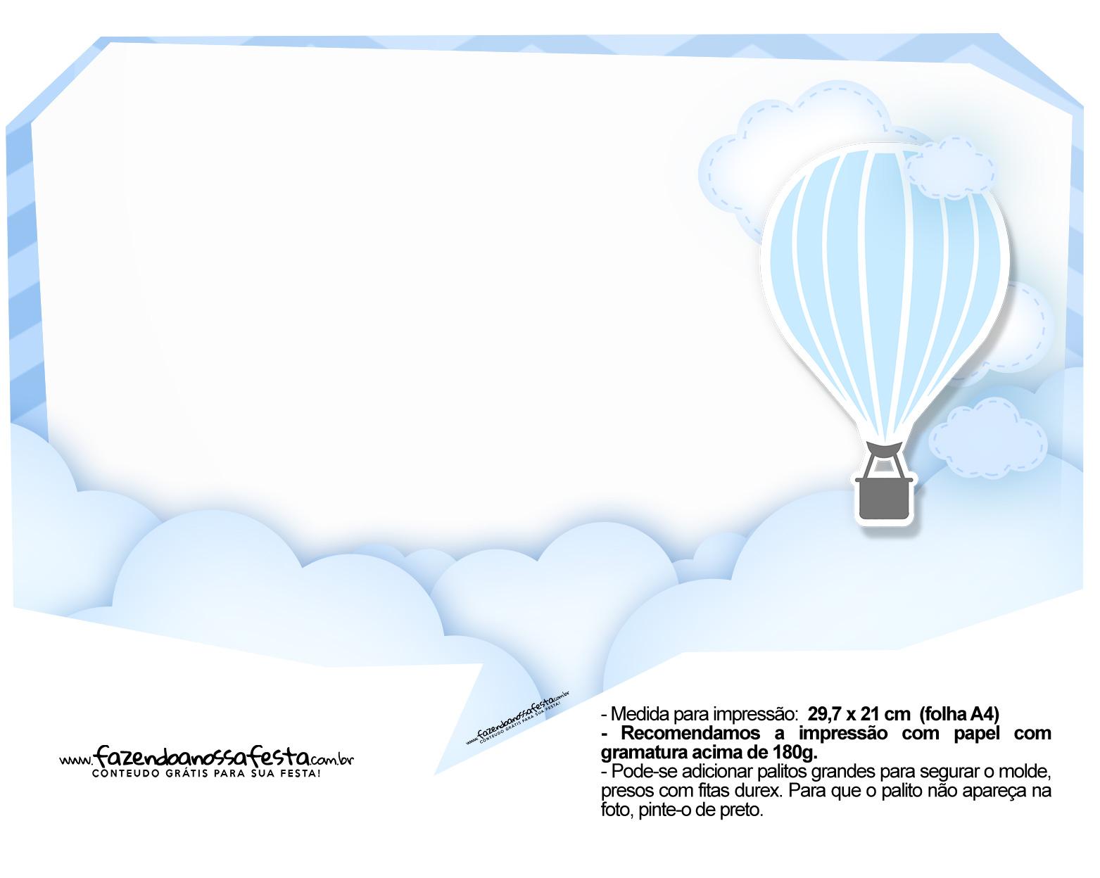 Plaquinha divertida Balão de Ar Quente Azul 19