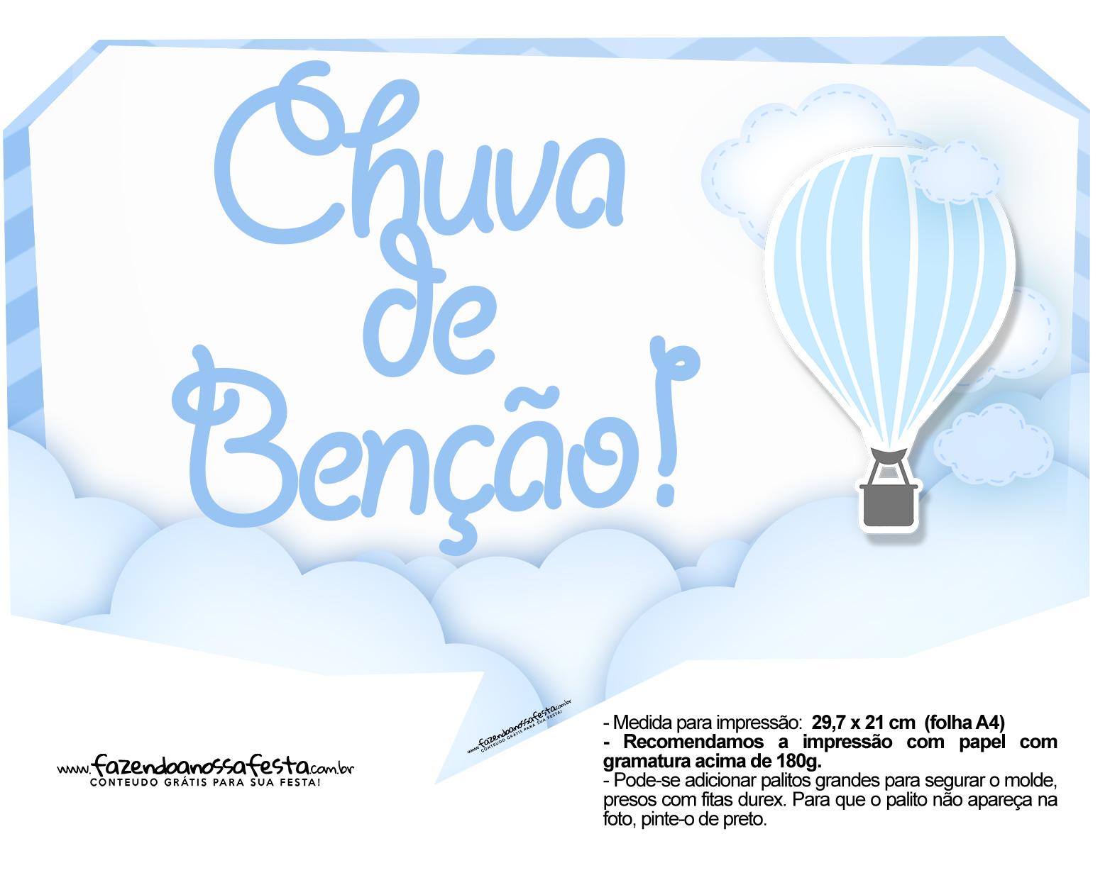 Plaquinha divertida Balão de Ar Quente Azul 2