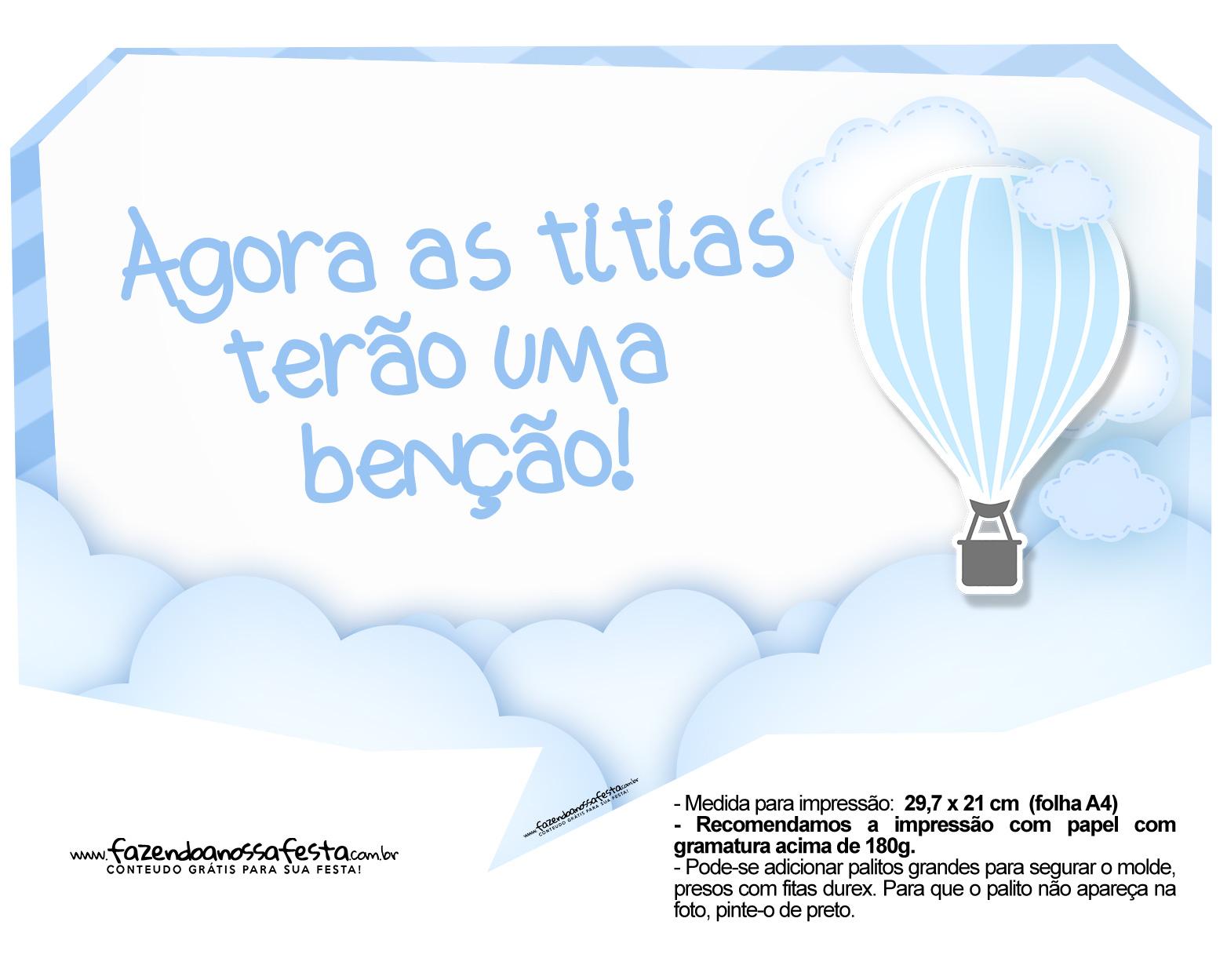 Plaquinha divertida Balão de Ar Quente Azul 3