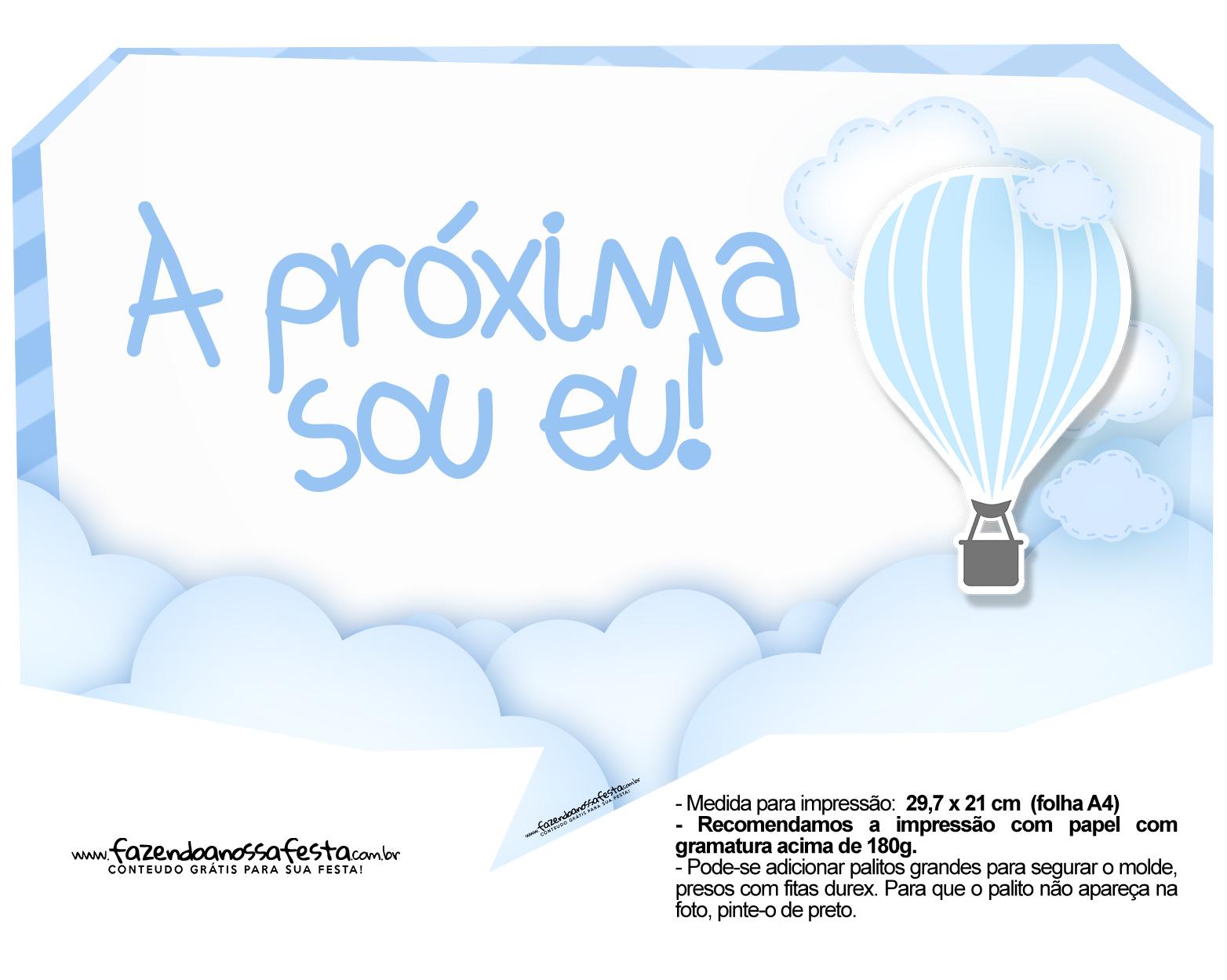 Plaquinha divertida Balão de Ar Quente Azul 6