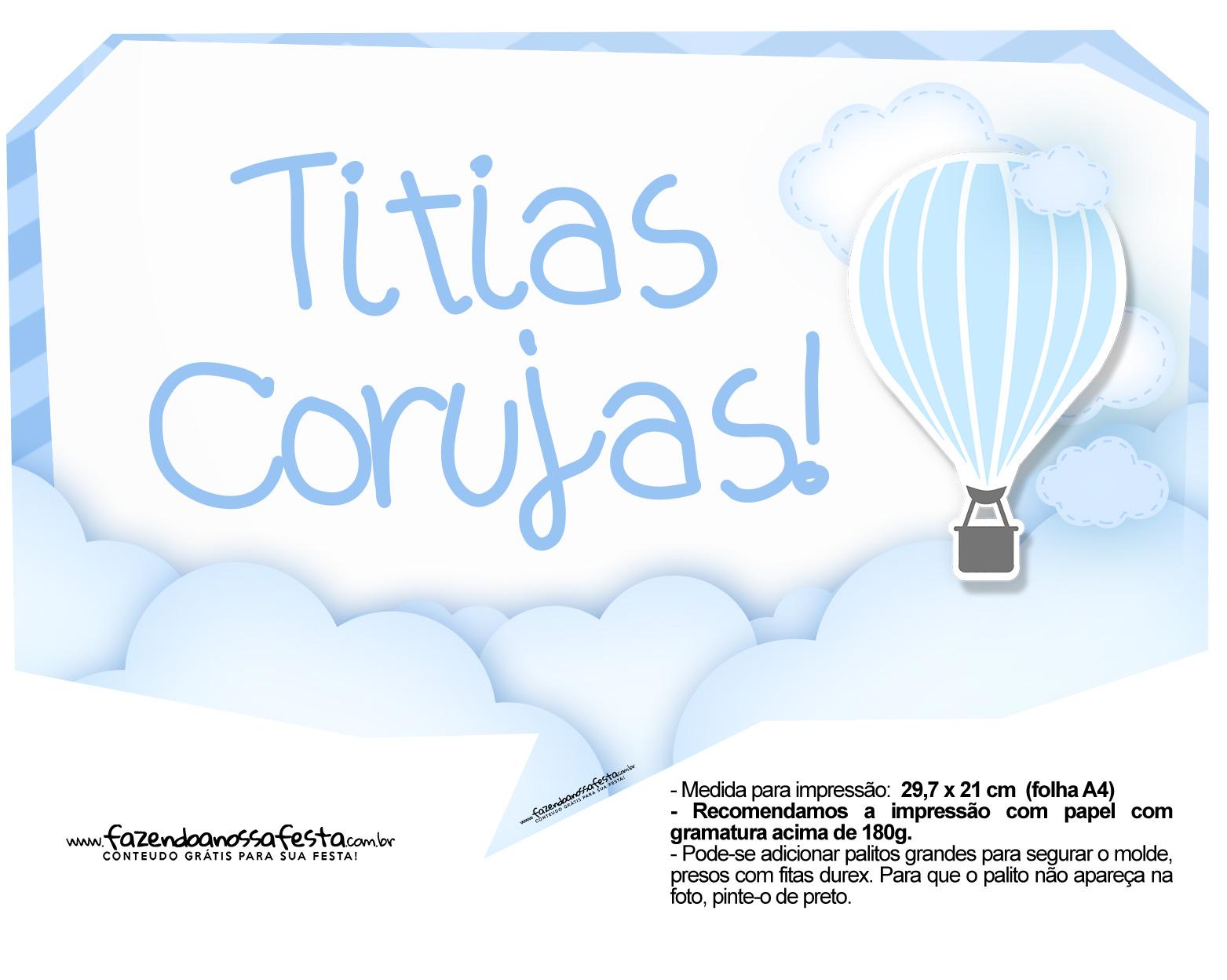 Plaquinha divertida Balão de Ar Quente Azul 8