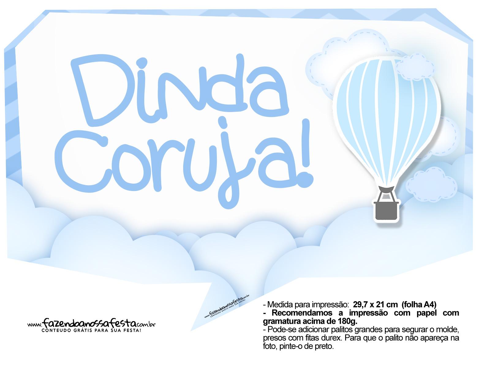 Plaquinha divertida Balão de Ar Quente Azul 9