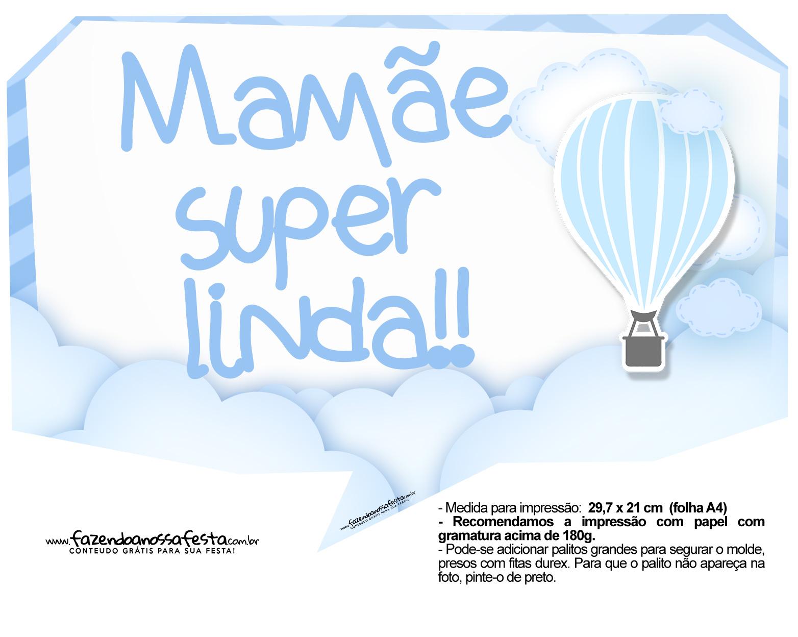 Plaquinhas Balão de Ar Quente Azul 10
