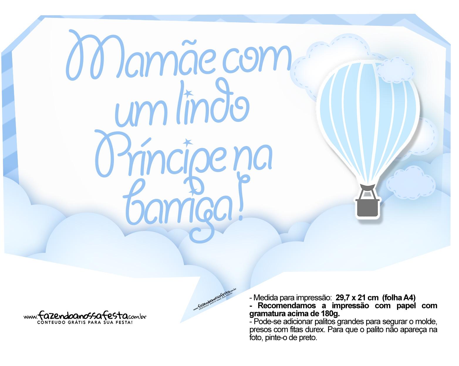 Plaquinhas para festa Balão de Ar Quente Azul 2