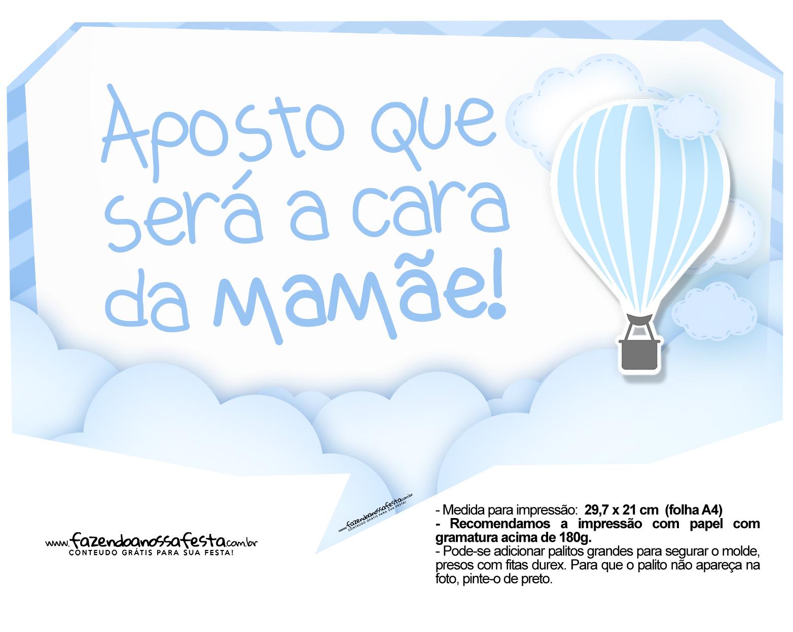 Plaquinhas para Festa Balão de Ar Quente Azul 4