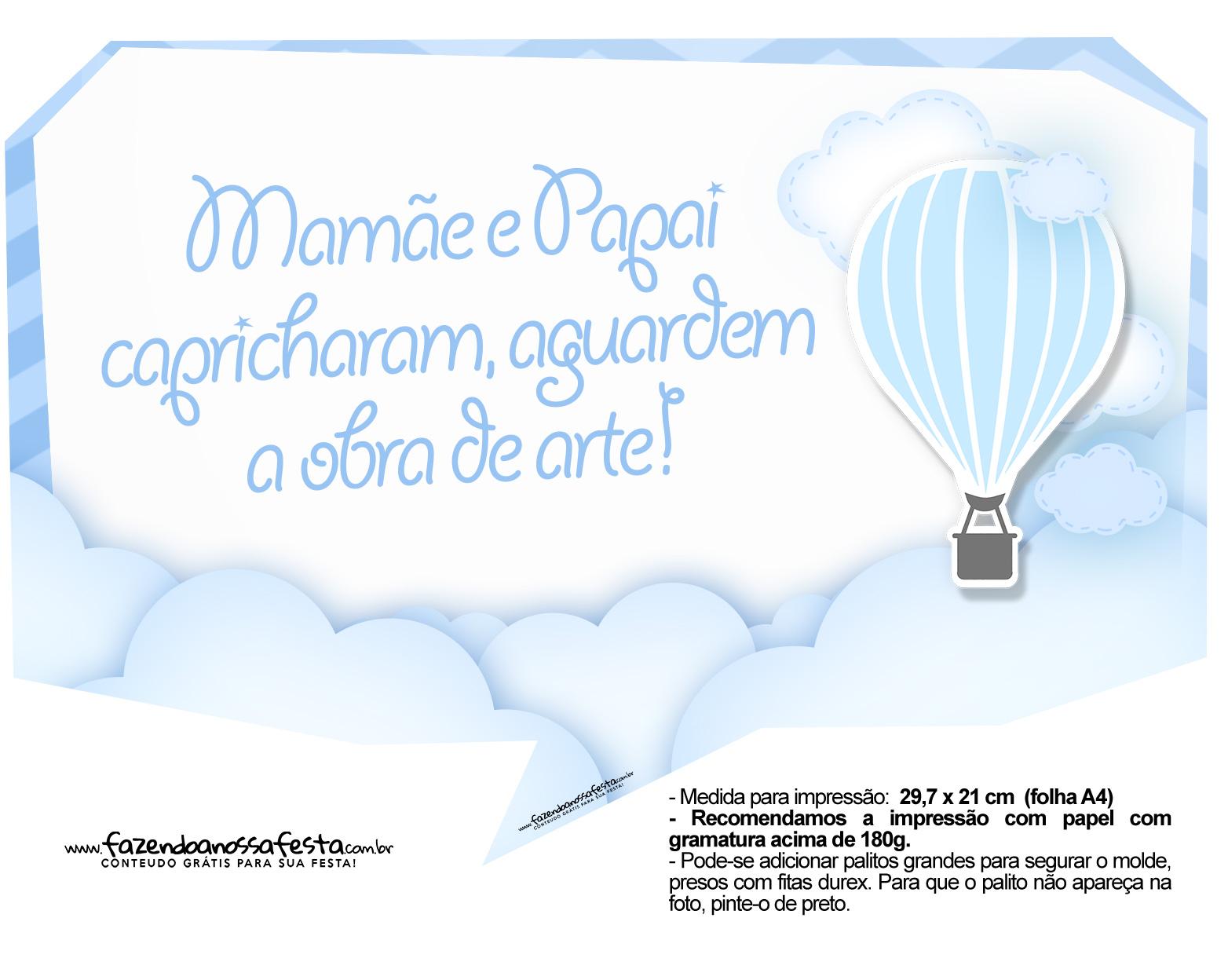 Plaquinhas Balão de Ar Quente Azul 8