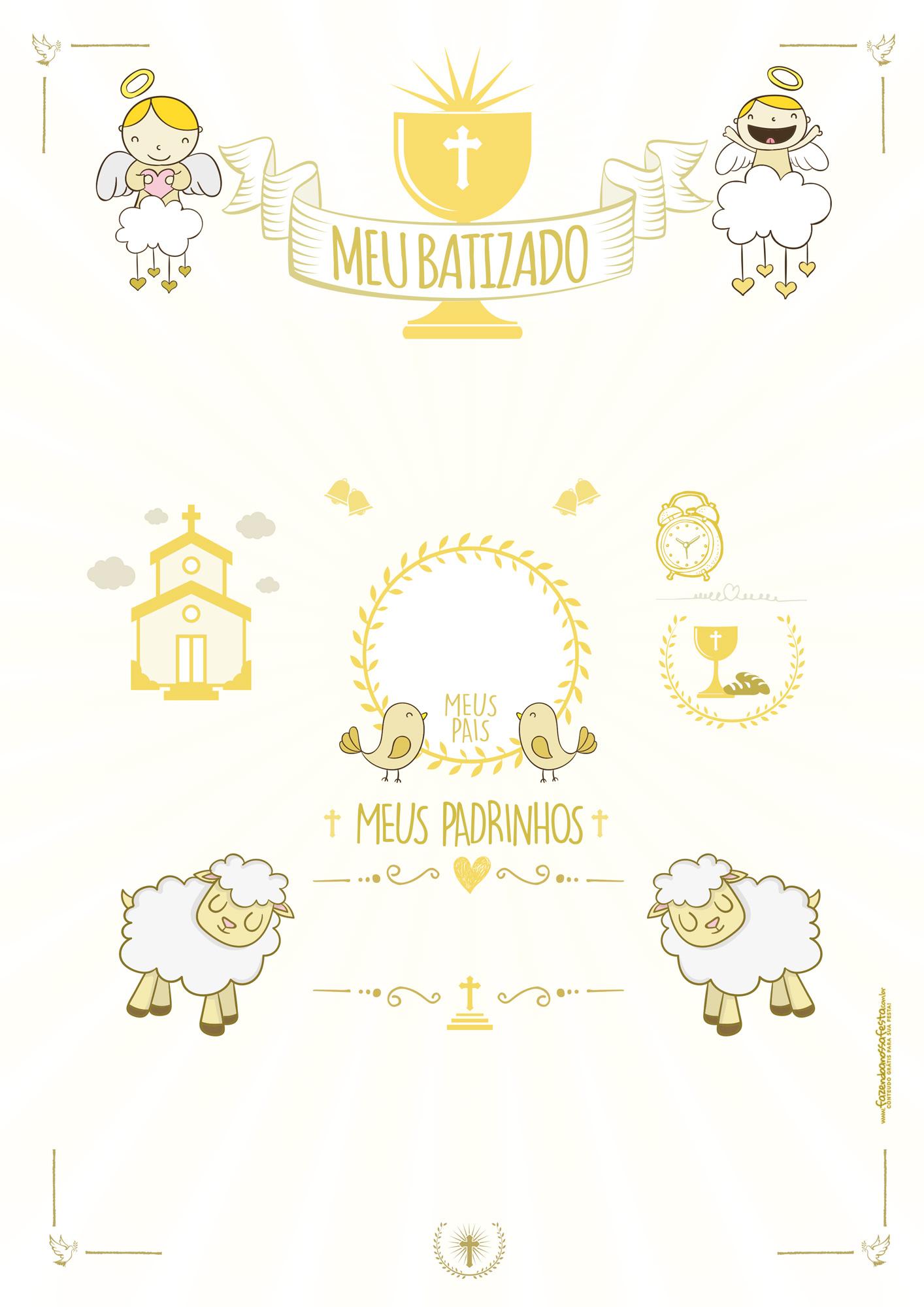 Quadro Batizado Branco e Dourado
