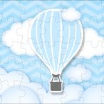 Quebra cabeça Balão de Ar Quente Azul