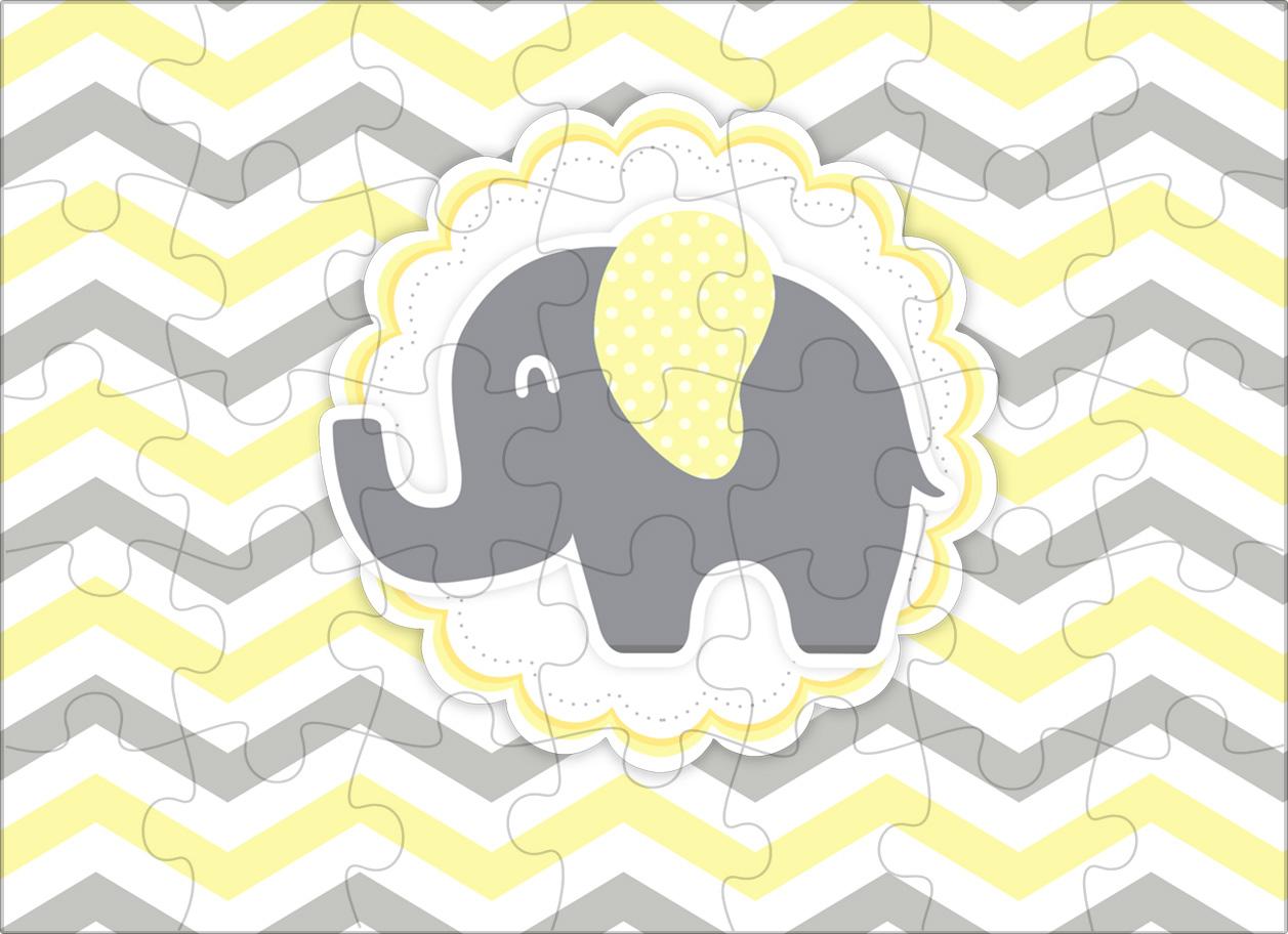 Quebra cabeça Elefantinho Chevron Amarelo e Cinza