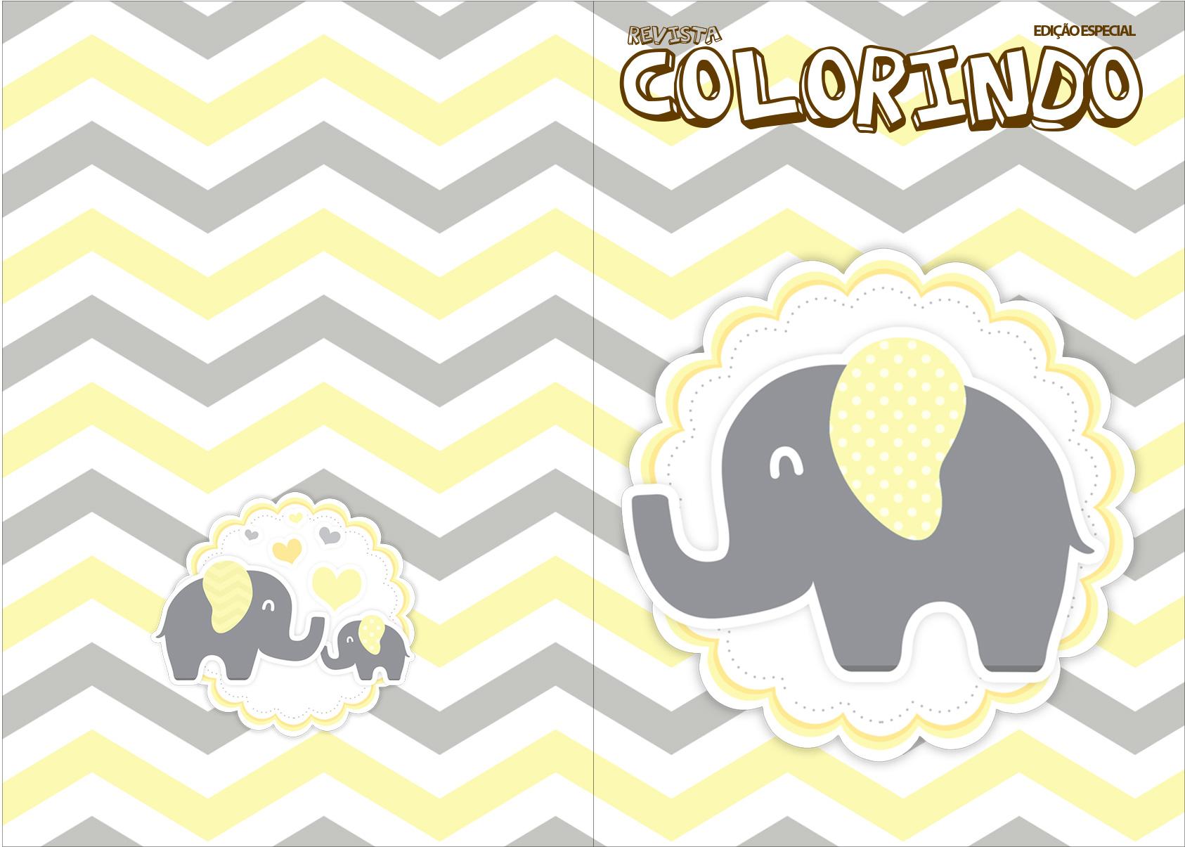 Revista Colorindo Elefantinho Chevron Amarelo e Cinza Kit Festa
