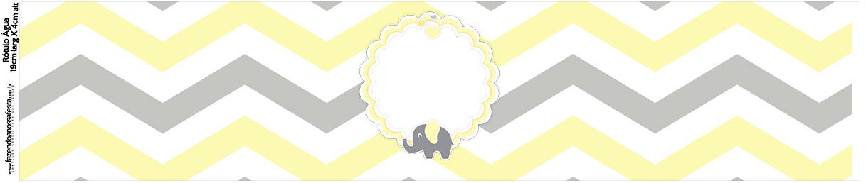 Rotulo Água Elefantinho Chevron Amarelo e Cinza