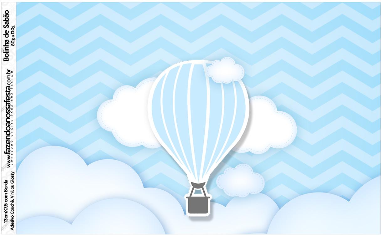 Rótulo Bolinha de Sabão Balão de Ar Quente Azul