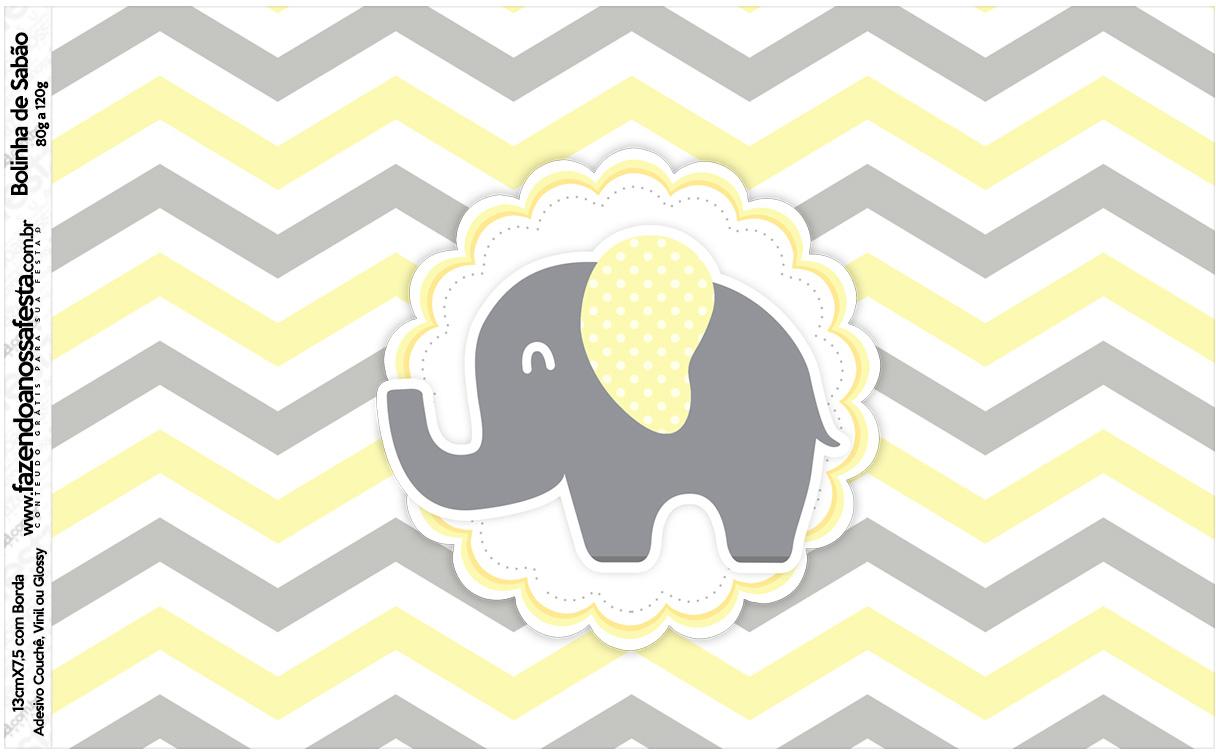 Rotulo Bolinha de Sabao Elefantinho Chevron Amarelo e Cinza
