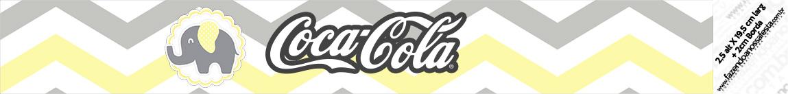 Rotulo Coca cola Elefantinho Chevron Amarelo e Cinza
