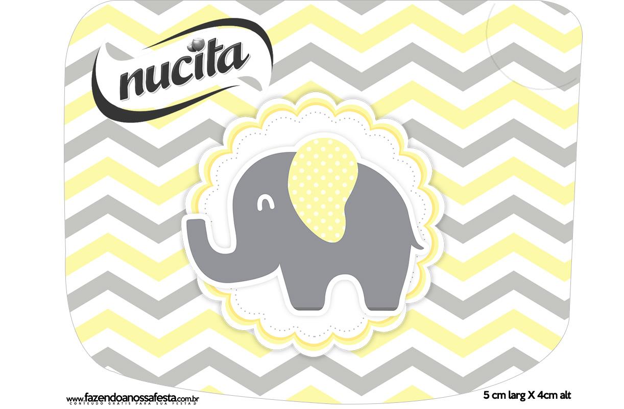 Rótulo Creminho Nucita Elefantinho Chevron Amarelo e Cinza