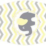 Rotulo Esmalte Elefantinho Chevron Amarelo e Cinza