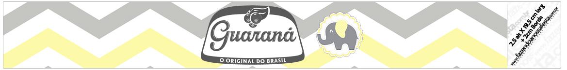 Rotulo Guarana Caculinha Elefantinho Chevron Amarelo e Cinza