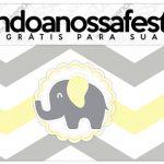 Rótulo Lapis Elefantinho Chevron Amarelo e Cinza Kit Festa