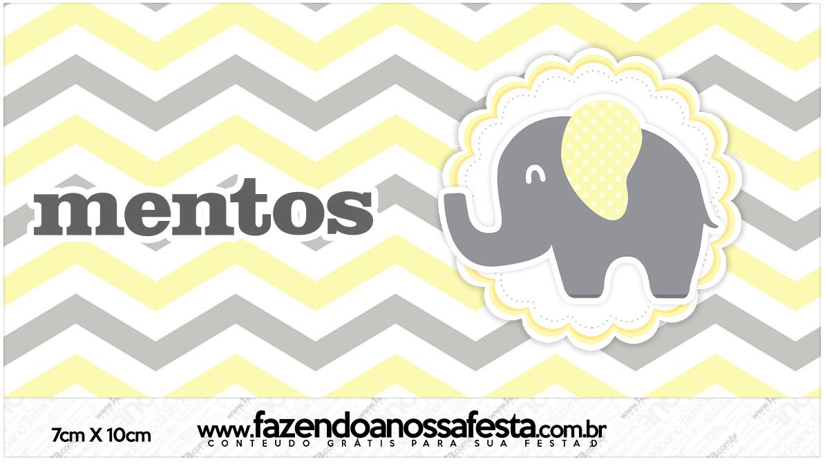 Rotulo Mentos Elefantinho Chevron Amarelo e Cinza