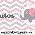 Rotulo Mentos Elefantinho Rosa e Cinza Chevron