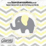 Rotulo Mini Baton Garoto Elefantinho Chevron Amarelo e Cinza