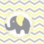 Rotulo Mini Confeti Elefantinho Chevron Amarelo e Cinza