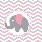 Rotulo Mini Confeti Elefantinho Rosa e Cinza Chevron