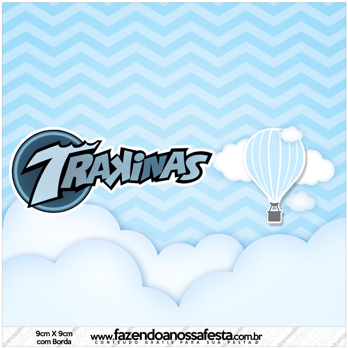 Rótulo Mini Trakinas Balão de Ar Quente Azul