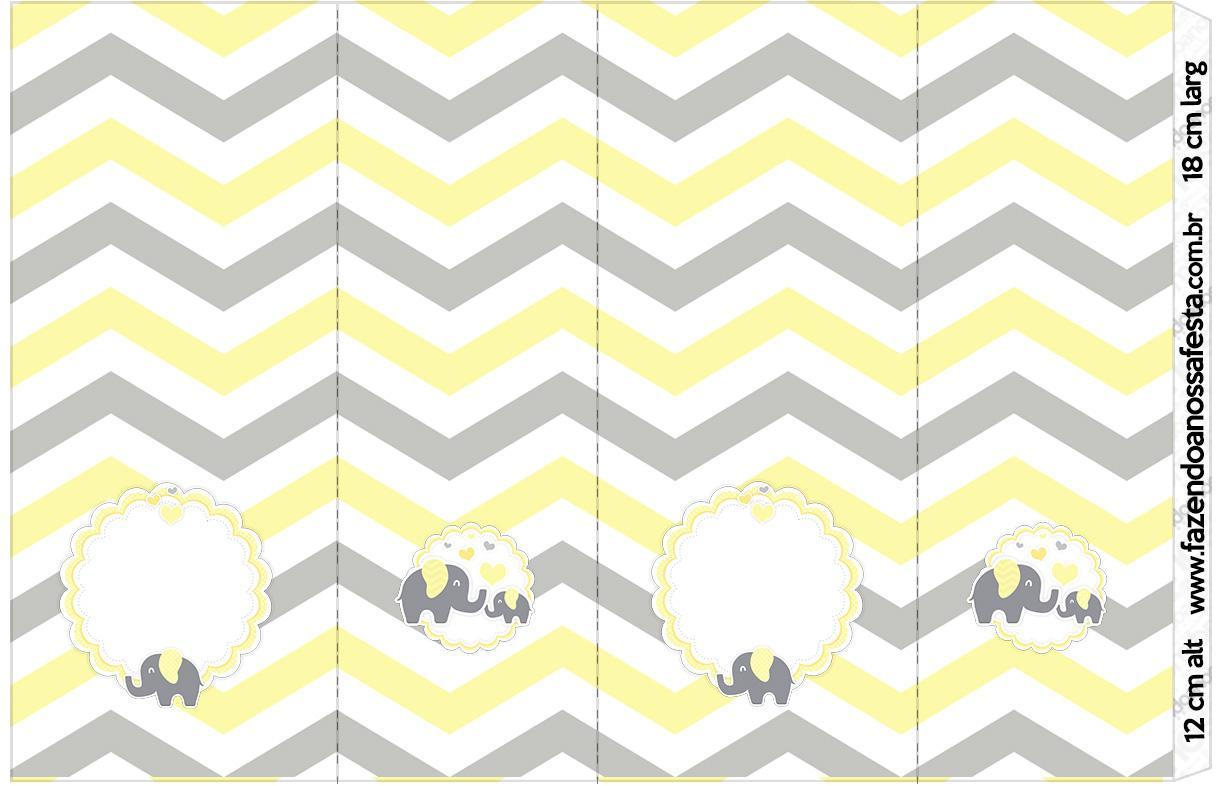 Rotulo Nescauzinho Elefantinho Chevron Amarelo e Cinza
