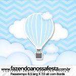 Rótulo Passatempo Balão de Ar Quente Azul