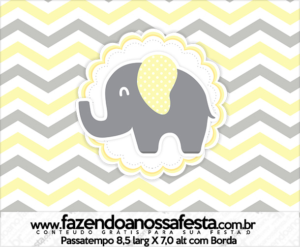 Rotulo Passatempo Elefantinho Chevron Amarelo e Cinza Kit Festa