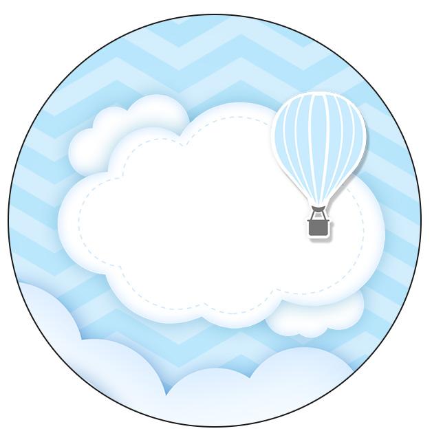 Adesivo Balão De Ar Quente ~ Rótulo Personalizado para latinha e toppers Bal u00e3o de Ar Quente Azul Kit Festa Fazendo a Nossa