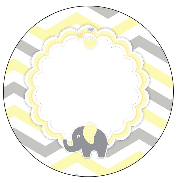 Rotulo Personalizado para latinha e toppers Elefantinho Chevron Amarelo e Cinza