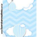Rótulo Pirulito Balão de Ar Quente Azul Kit Festa