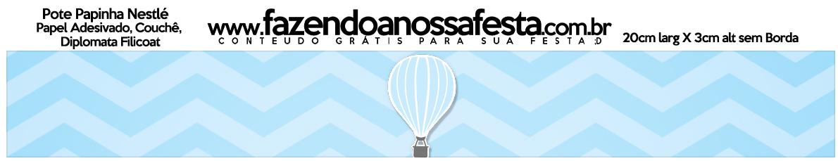 Rótulo Pote Papinha Nestle Balão de Ar Quente Azul Kit Festa