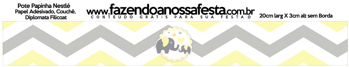 Rotulo Pote Papinha Nestle Elefantinho Chevron Amarelo e Cinza