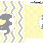 Rotulo Saquinho de Chá Elefantinho Chevron Amarelo e Cinza