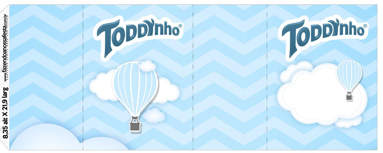 Rótulo Toddynho Balão de Ar Quente Azul Kit Festa