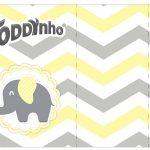 Rótulo Toddynho Elefantinho Chevron Amarelo e Cinza Kit Festa