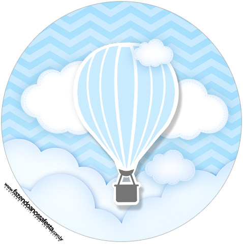 Rótulo Tubete 2 Balão de Ar Quente Azul Kit Festa