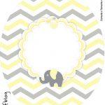 Rotulo Tubete Oval Elefantinho Chevron Amarelo e Cinza Kit Festa