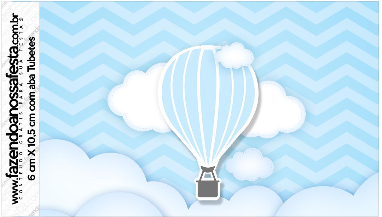 Rótulo Tubetes Balão de Ar Quente Azul Kit Festa
