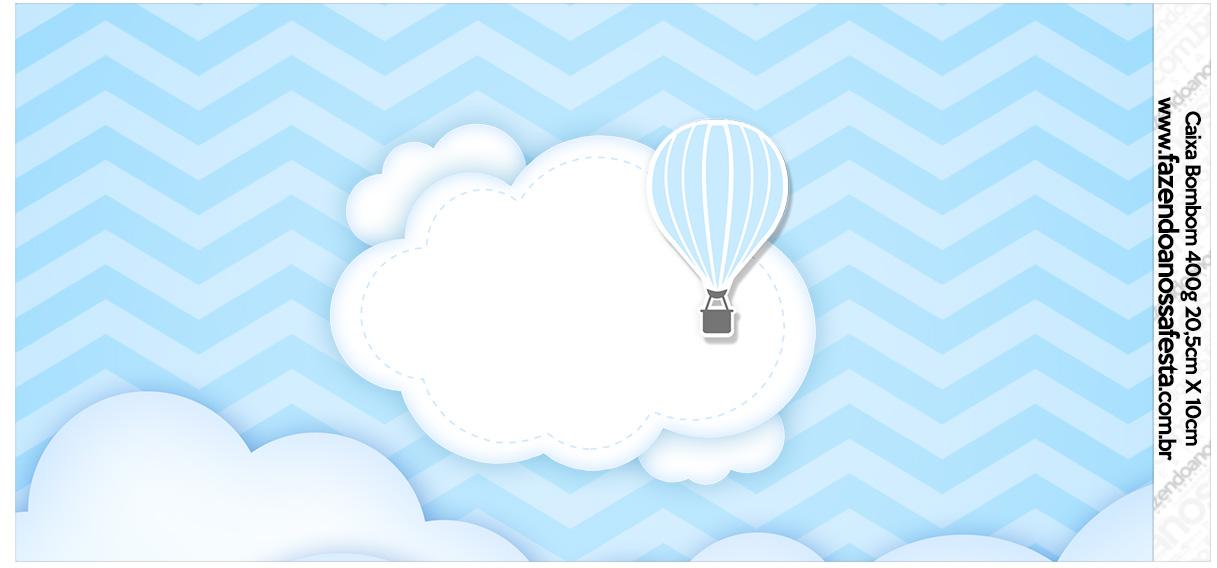Rótulo para Caixa bombom Balão de Ar Quente Azul