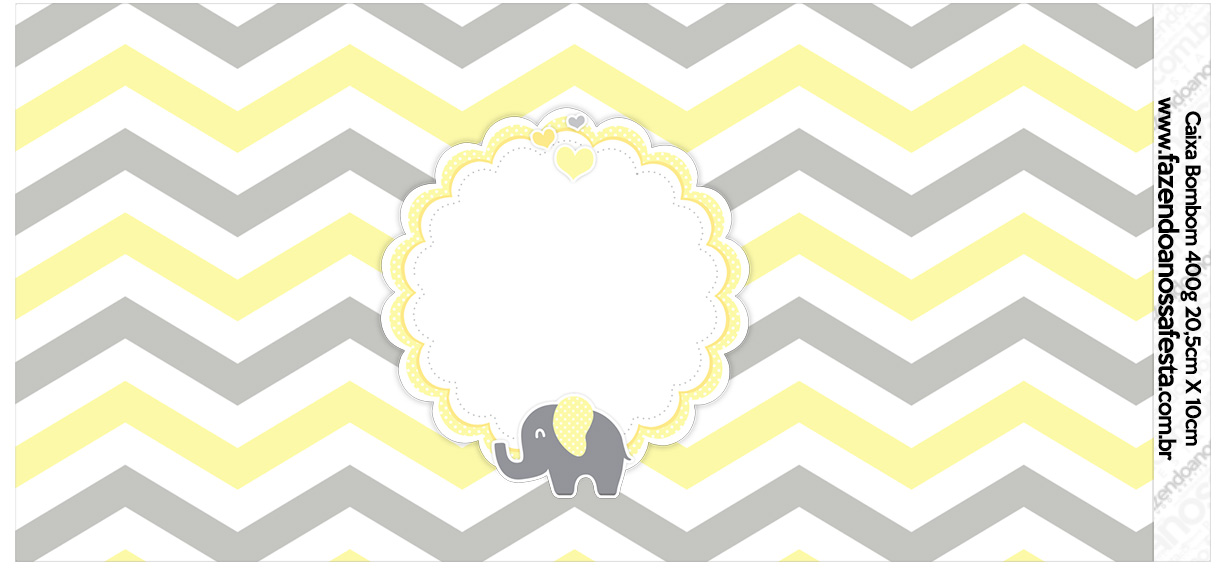 Rotulo para Caixa bombom Elefantinho Chevron Amarelo e Cinza